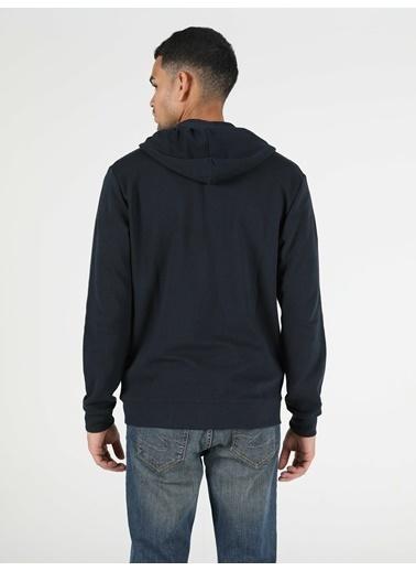 Colin's Colin'S Fermuarlu Kapüşonlu Uzun Kol Koyu Erkek Sweatshirt Lacivert